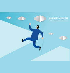 businessman jumping over gap paper art style vector image