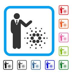 Businessman show cardano framed icon vector