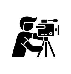 cameraman black glyph icon vector image
