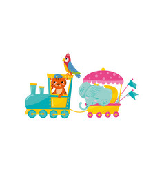 Cartoon animals characters traveling by train vector