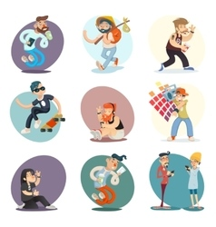 Cartoon Casual People Hipster Geek Goth Mobile vector