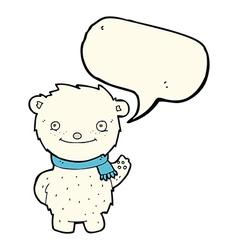 Cartoon cute polar bear with speech bubble vector
