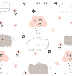 cartoon hippo pattern vector image