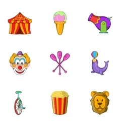 Chapiteau icons set cartoon style vector