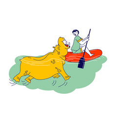 Character is attacked with water hippopotamus vector