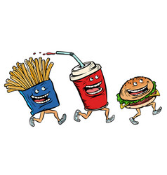 characters set fast food french fries cola burger vector image