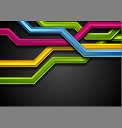 colorful abstract tech stripes on black background vector image