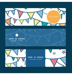 colorful doodle bunting flags horizontal banners vector image