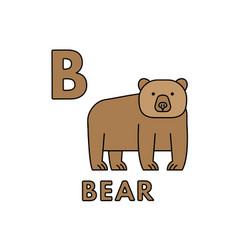 Cute cartoon animals alphabet bear vector