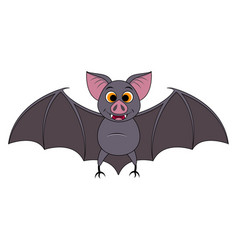 cute cartoon halloween bat flying vector image