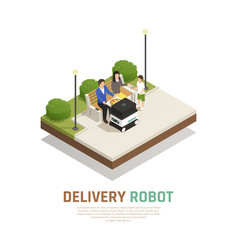 delivery robotic transport isometric composition vector image