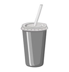 disposable cola cup with drinking straw hand vector image