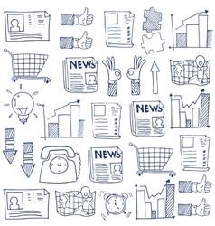 Doodle of business flat hand draw vector image