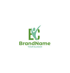 Ec wellness logo design vector