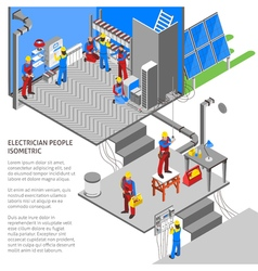 Electrician Isometric Composition vector