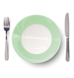 Empty plate in green design with knife and fork vector