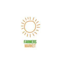 Farmers market logo with doodle sun vector