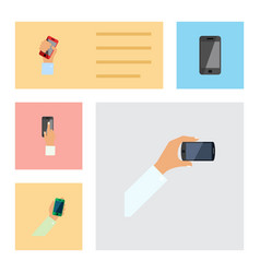 flat icon phone set of keep phone touchscreen vector image