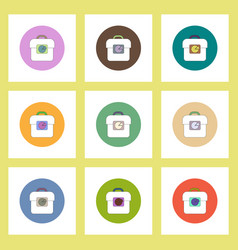 flat icons set of business pie chart and bag vector image