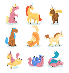 flat set adorable unicorns in different vector image