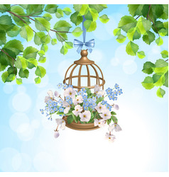 Floral bird cage vector