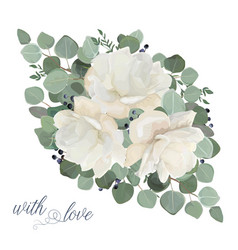 Floral card design with garden white peony flowers vector