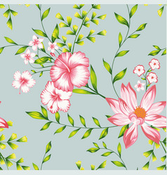 Floral seamless composition turquoise background vector