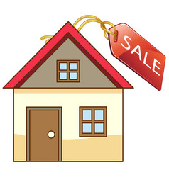 front a little house with sale tag isolated vector image