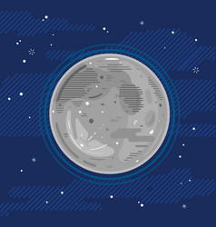 Full moon in space in flat style vector