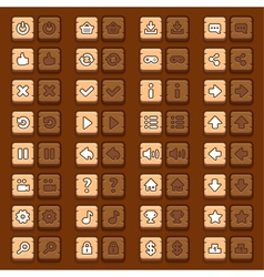 Game menu icons wooden buttons set vector