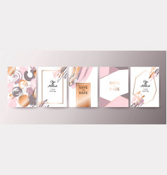 Gold pink brochure flyer invitation card vector