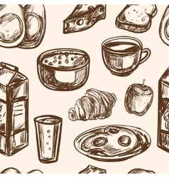 Hand drawn breakfast food seamless pattern vector
