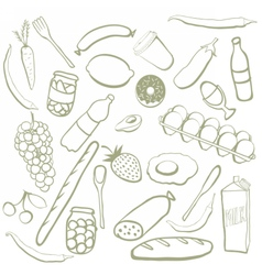 Hand drawn food doodles vector image