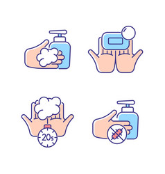 Hand hygiene rgb color icons set vector