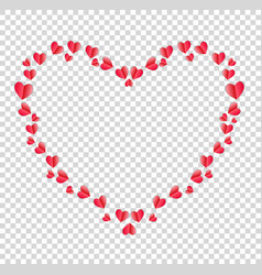 heart border made of red folded paper hearts with vector image