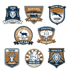 Heraldry icons of wild safari animals vector