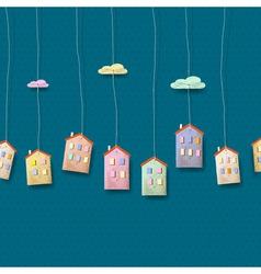 Homes made from paper on blue vector