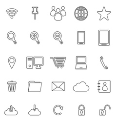 Internet line icons on white background vector