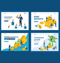 isometric investment bank deposit crowdfunding vector image