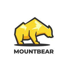 Logo mountain bear simple mascot style vector