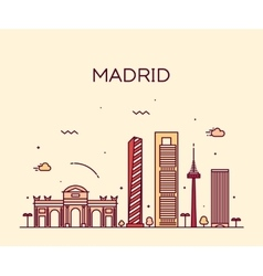 Madrid skyline trendy linear vector image