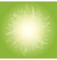 Magical green leaves sunburst background vector image