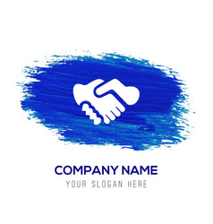 meeting icon - blue watercolor background vector image