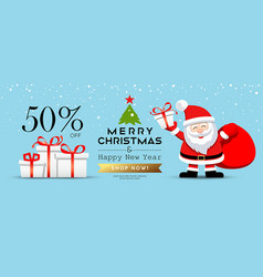 merry christmas santa claus with gift box sale vector image