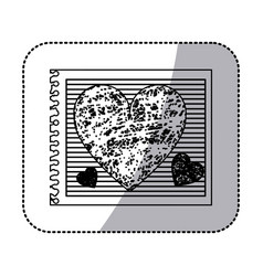 monochrome sticker of striped notebook sheet with vector image