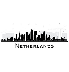 Netherlands skyline silhouette with black vector