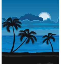 Night summer beach vector