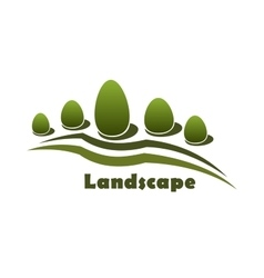 Park garden landscape icon with bushes and trees vector image