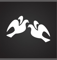 pigeons in love on black background vector image