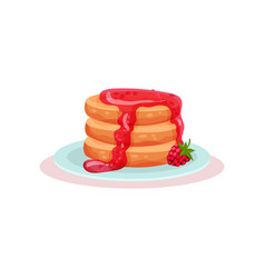 plate of tasty pancakes with fresh raspberry jam vector image